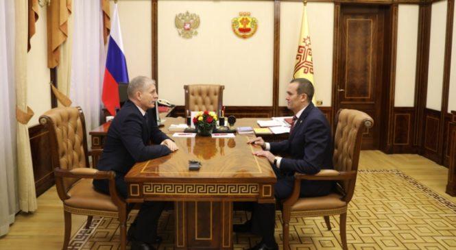 Михаил Игнатьев провел рабочую встречу с врио министра образования и молодежной политики Чувашской Республики
