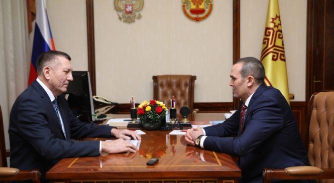 Глава Чувашии Михаил Игнатьев провел рабочую встречу с главой администрации Яльчикского района Николаем Миллиным